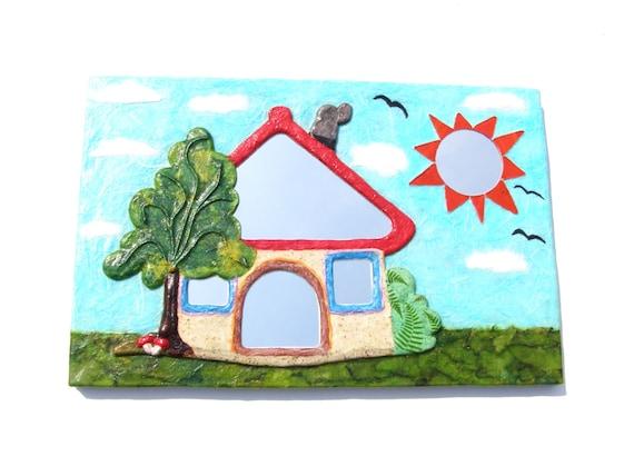 Miroir mural d coratif maison avec arbre et soleil mobilier for Miroir mural decoratif