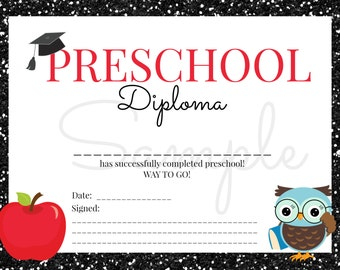 Preschool diploma   Etsy