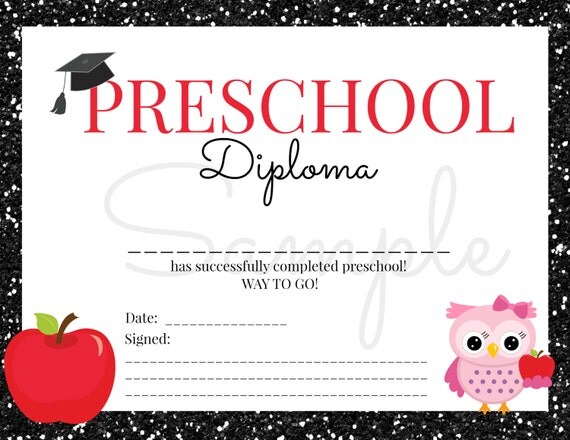 Instant download preschool graduation diploma for girl instant download preschool graduation diploma for girl certificate keepsake school card printable download yadclub Image collections