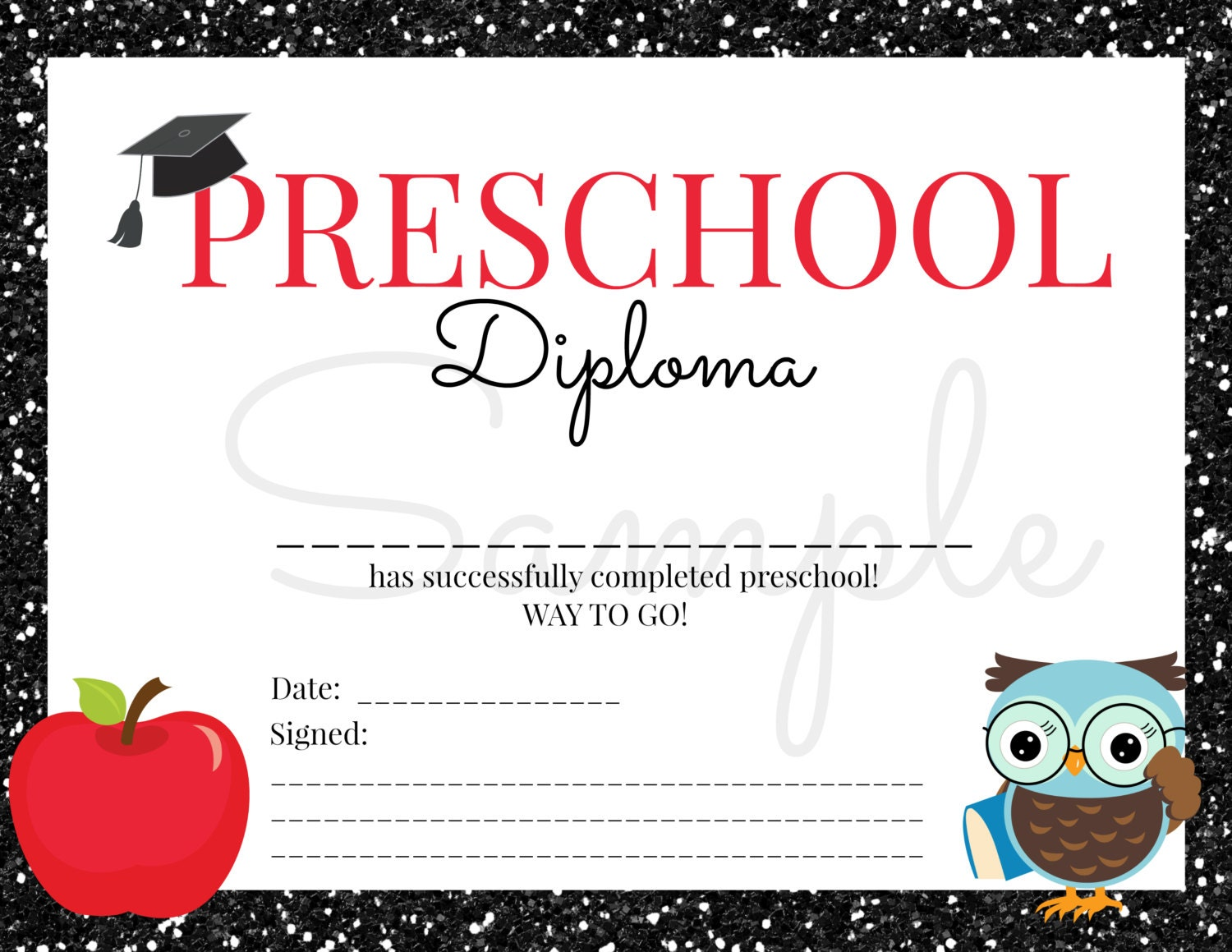Tactueux image with kindergarten diploma printable