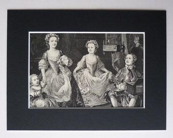 1882 Antique William Hogarth Print  - 18th Century Art Print - Antique Portrait Of The Graham Children - Available Framed - Antique Art Gift