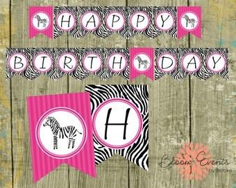 Pink Zebra Birthday Banner - INSTANT Download