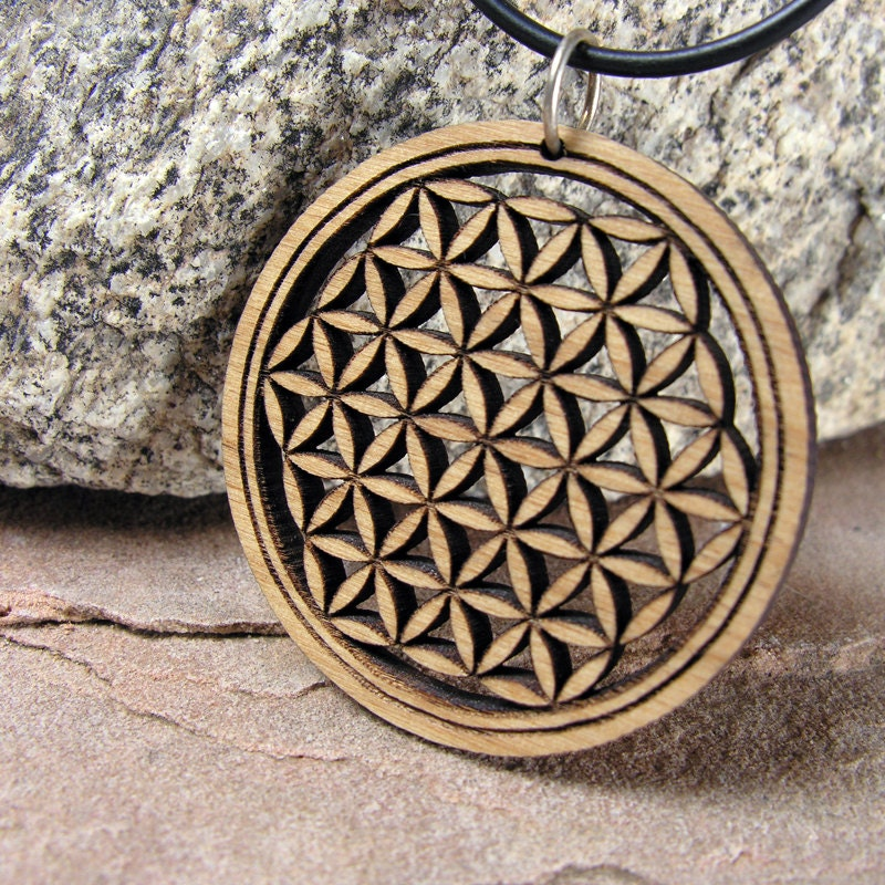 Flower Of Life Small Wood Pendant Sacred Geometry Jewelry