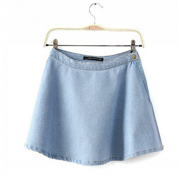 small light wash denim circle skirt skater skirt by