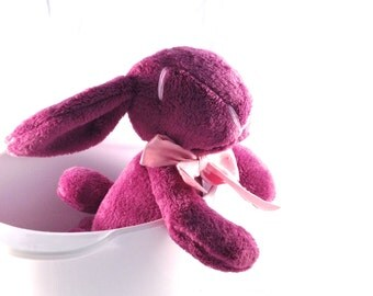Plush bunny, rabbit, stuffed, purple, radiant orchid  - Easter bunny - baby shower toy