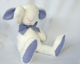 Plush bunny, rabbit, stuffed, white, Easter bunny - baby shower toy - baby girls and boys