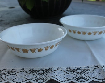 Two Pyrex Corelle Cereal / Dessert Bowl Butterfly Gold Pattern
