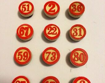 Vintage Inspired Wood Bingo Number Magnets