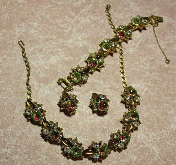 Florenza Parure featuring Topaz and Green Iris Stones