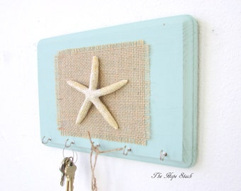 Key Holder - Wall Hook Key Hook Beach Decor Starfish 5 Silver Hooks - House warming gift