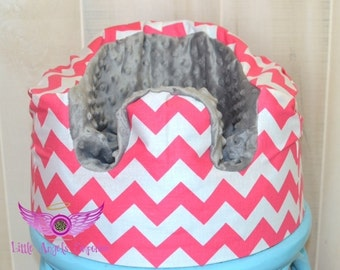 Pink and White Chevron with Gray Minky Bumbo Seat Cover