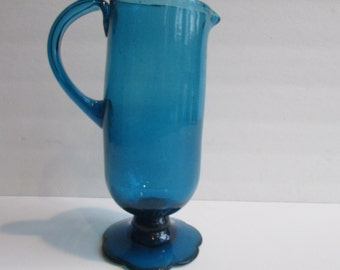 Mid Century Modern Footed Blue Glass Pitcher