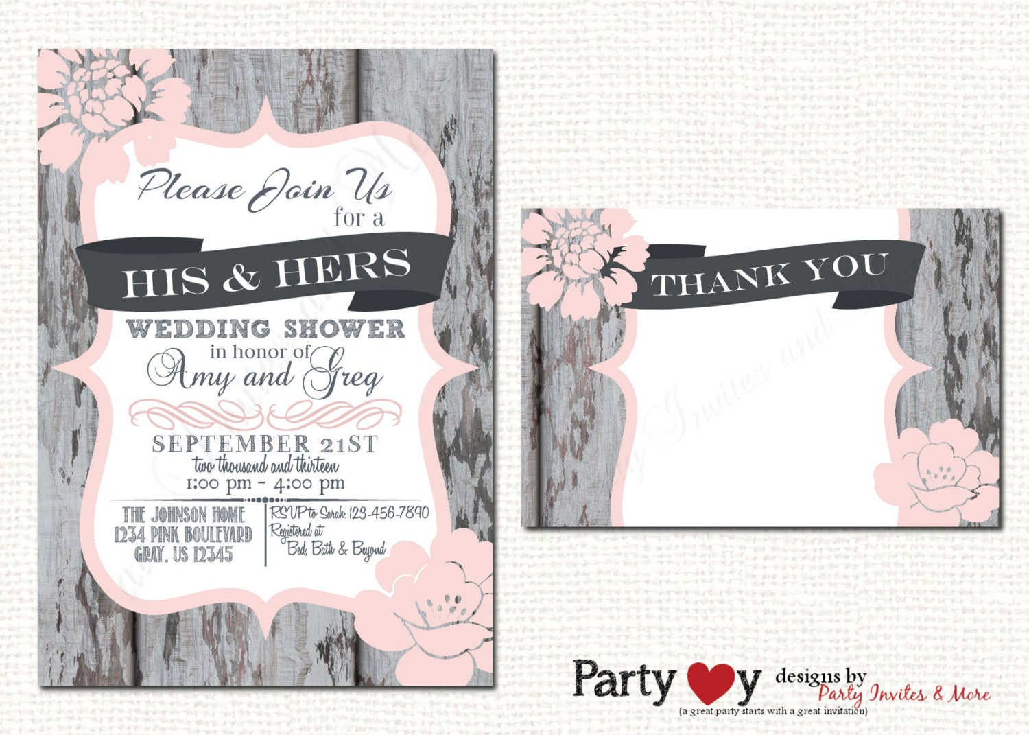 Postcard Wedding Shower Invitations: Couple's Wedding Shower Invitation Couples Shower