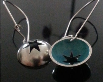 hand made sterling silver star earrings