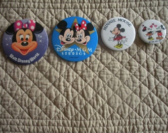 Mickey Minnie Disney Pin back Buttons- set of four.