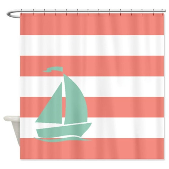 Nautical Shower Curtain Coral And White Stripes Grayed Jade