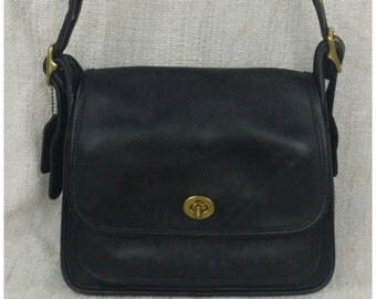 Vintage Coach Black Rambler Crossbody Messenger Bag Purse MADE IN USA