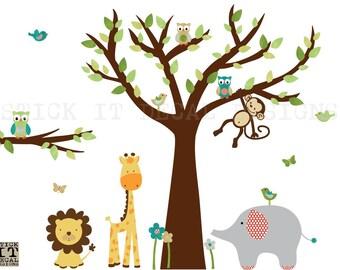 Jungle Animal Wall Decal, Safari Animal Wall Decal, Nursery Wall Decal, XXL Evergreen / Brown Tree