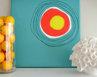 CANVAS ART PRINT Mid Century in Yellow, Lime  Green, Hot Red and Purple