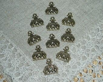 10 Pcs. Antique Bronze 3 hole / 3 strand drops - connectors - dangles 15 mm