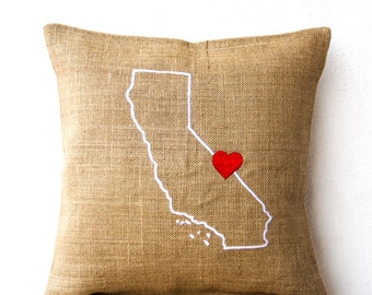 Burlap Pillows, State Pillow,  Embroidered Pillow, Personalized Pillow, Customized Cushion, Gift, 18x18, Pillow Covers, California Pillow