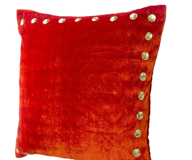 Orange Pillow Orange Velvet Pillow With Gold Sequin Detail