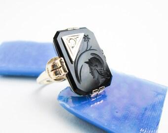 1920s Signet Intaglio Seal Ring, Art Deco, Rose Gold, Platinum & 5pt. Genuine Diamond, Hallmarked USA.