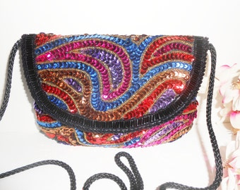 Beaded Evening Bag, Multi-Color Sequin, Vintage Handbag, Colorful Handbag, Vintage Clutch Bag, Beaded Clutch, Sparkly Purse EB-0070