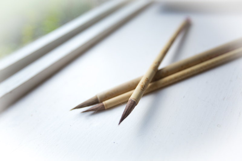 Chinese Calligraphy Brush Set Of 3 Made Of Bamboo And