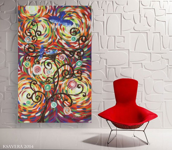 large tree painting 40x64 modern acrylic landscape by ksaveraart. Black Bedroom Furniture Sets. Home Design Ideas