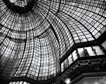 "Paris Black and White - Paris Printemps stained glass 24x36 16x24 photography Paris wall decor travel 8x10 photo fashion ""Looking Glass II"