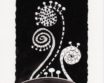 Original Ink Illustration . Cryptozoic Fiddleheads . Black and White Watercolor and Ink
