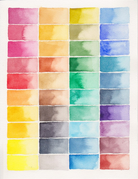 Abstract Painting . Abstract Watercolor Palette . Colorblocks . Full Spectrum Color Block Painting . Rainbow . 8.5 x 11 Original