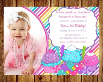 Cupcake and Candy Photo Birthday Party Invitation- Digital File- DIY Printable -Sweet Shoppe Invitation. 1st, 2nd, 3rd, 4th, 5th, 6th, 7th