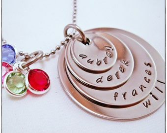 Family Necklace, Custom Name Necklace, four name necklace, grandmother gift, personalized, hand stamped, name necklace