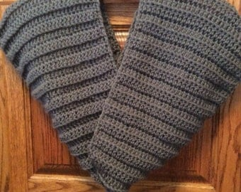 Crocheted Cashmere and Merino Wool Slate Gray Infinity Scarf/Cowl