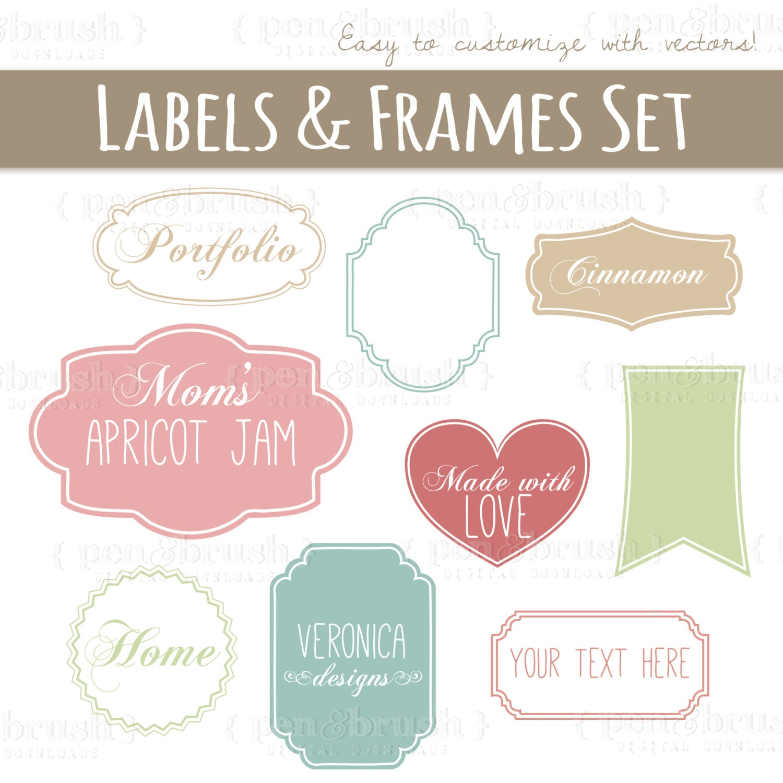 CLIP ART: Cute Vector Labels u0026 Frames // Photoshop Brushes //