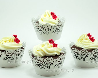 WHITE Shimmer Roses Wedding Cupcake / Muffin Wrappers - Shimmer Paper laser cut lace decorations (set of 12)