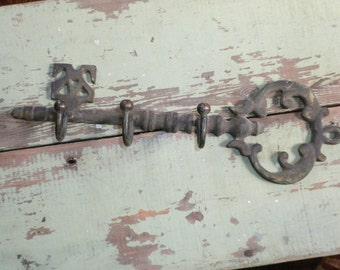 vintage brass key hook rack