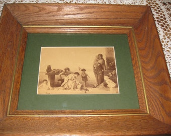 "FRAMED VINTAGE PHOTOGRAPH 12"" X 14"" Oak Frame With Wood Back"