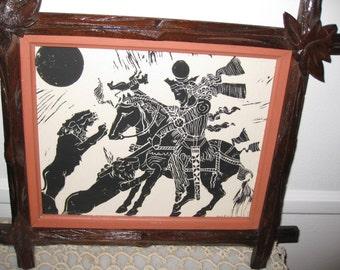 "SIGNED PEN and INK 1921-Adirondack Frame 13"" X 10 1/2"""