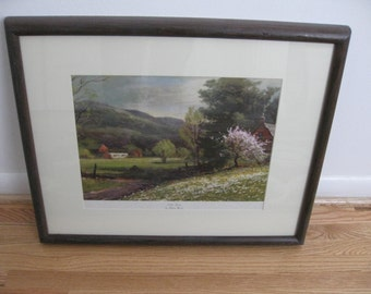 """EARLY SPRING By Robert Wood-Original Dark Wood Rounded Edge Frame 50s Frame Measures 17 1/2"""" x 21 1/2"""""""