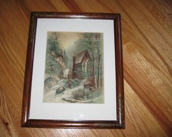 """GRIST MILL Framed Print Copyright J Hoover 1895 Philadelphia 12 1/2"""" x 15 1/2"""""""