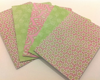 Sweet Spring/ pink and green/ blank note card set