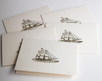 Vintage Ship Hand Made Cards, Masculine Thank You Note Card Set, All Occasion Stationery