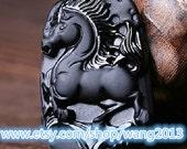 "Hand-carved black jade luck vigorous ""dark horse"" charm necklace / pendant"