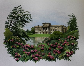 Lyme Hall & Park, Derbyshire - English Landscapes  - Historic Houses - Flowers - Gardens - Watercolour Painting -  Gifts for Her