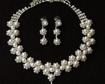 Wedding Bridal Pearl Set - White Pearl Necklace And Earrings, Bridal Pearl Set, Bridesmaids Necklace, Bridal Accessories, Wedding Set