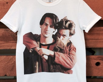 Keanu Reeves and River Phoenix My Own Private Idaho White Crew/V- Neck