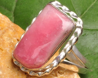 Pretty Pink Rhodochrosite Silver Ring Size 9 Perfect Gift